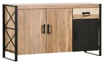 SIDEBOARD Akazie massiv gebeizt, lackiert Naturfarben - Schwarz/Naturfarben, Design, Holz/Metall (150/82/50cm)