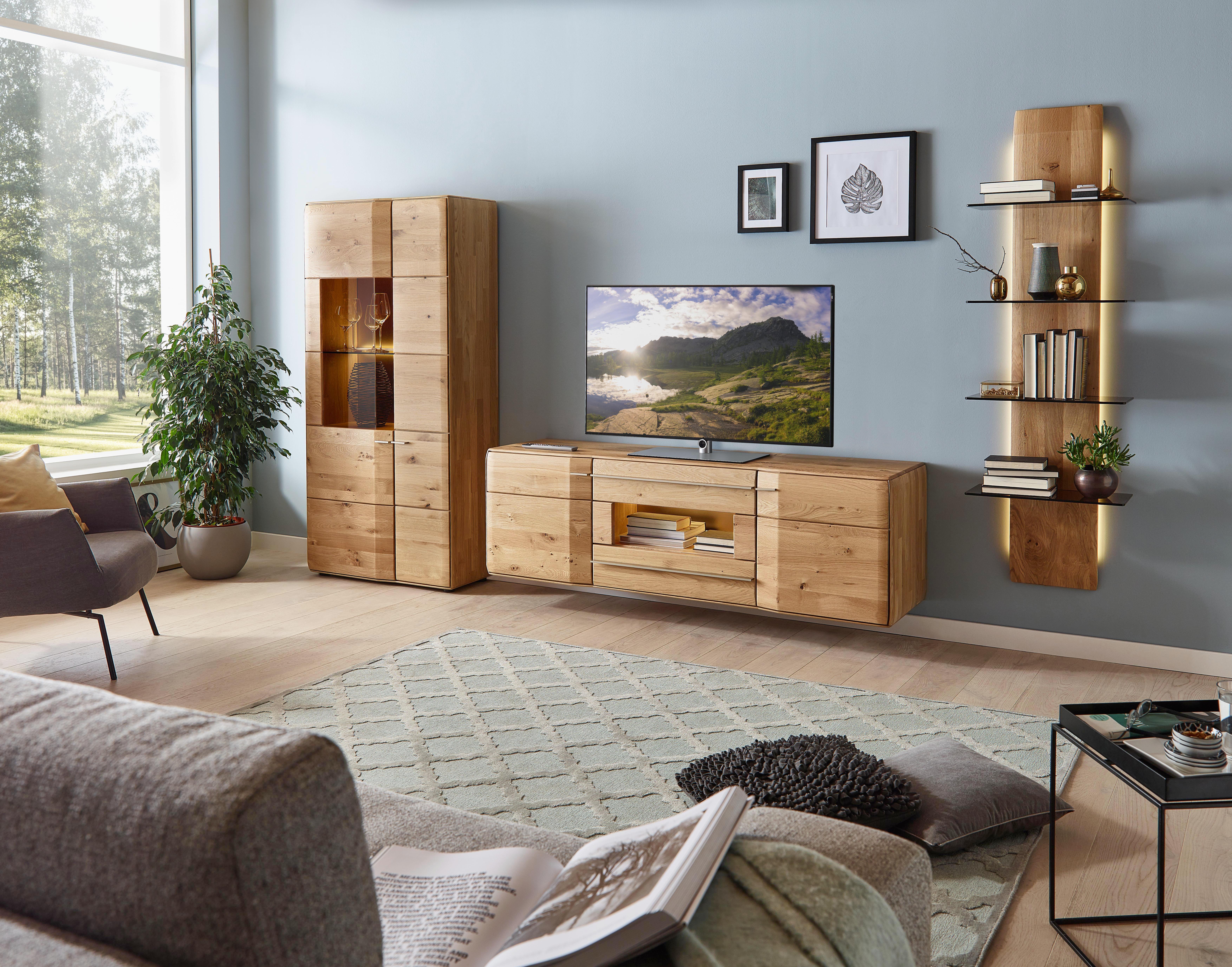 simple wohnwand wildeiche massiv eichefarben design glasholz with wohnwand wildeiche