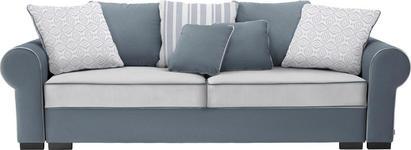 BIGSOFA Mikrofaser Grau, Weiß - Weiß/Braun, ROMANTIK / LANDHAUS, Kunststoff/Textil (256/74-90/106cm) - Hom`in