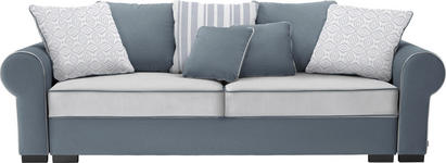 BIGSOFA Mikrofaser Grau, Weiß - Weiß/Braun, Trend, Kunststoff/Textil (256/74-90/106cm) - Hom`in