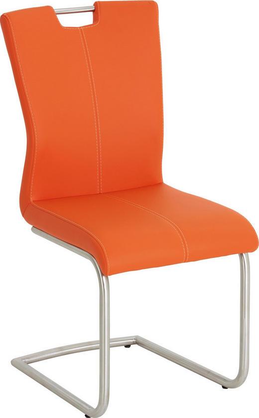 HOUPACÍ ŽIDLE, kov, textil, barvy nerez oceli, oranžová, - oranžová/bílá, Design, kov/textil (46/98/53cm) - Dieter Knoll