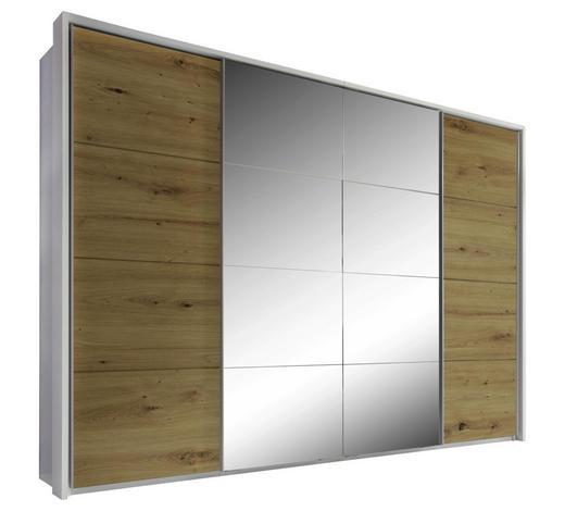 SCHIEBETÜRENSCHRANK in Weiß, Eichefarben - Eichefarben/Alufarben, KONVENTIONELL, Glas/Holzwerkstoff (325/230/60cm) - Xora