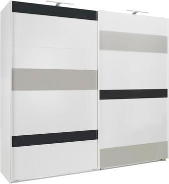 SKŘÍŇ S POSUVNÝMI DVEŘMI - bílá/šedá, Design, kov/dřevo (225/210/65cm) - CARRYHOME