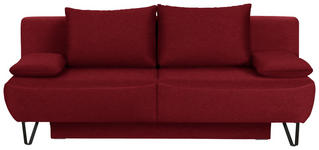 SCHLAFSOFA in Textil Rot - Rot/Schwarz, MODERN, Textil/Metall (202/90/91cm) - Xora
