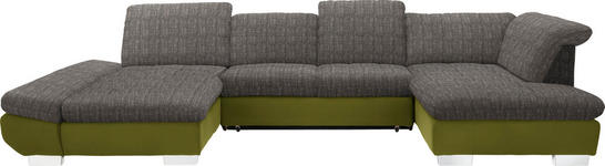 WOHNLANDSCHAFT in Textil Grün, Hellbraun - Chromfarben/Hellbraun, Design, Kunststoff/Textil (204/350/211cm) - Xora