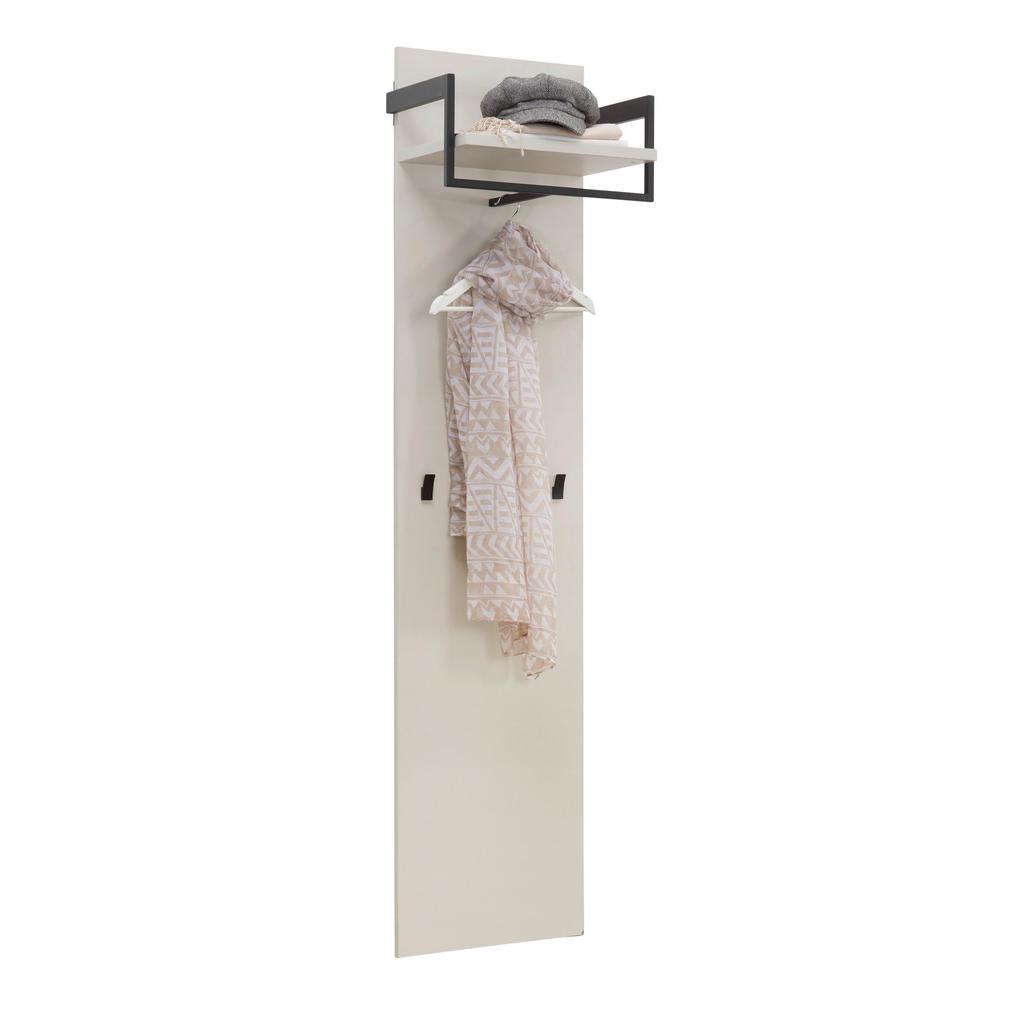 Voleo Garderobenpaneel , Schwarz, Kaschmir , Metall , 51x175x30 cm , Made in Germany , Garderobe, Garderobenpaneele