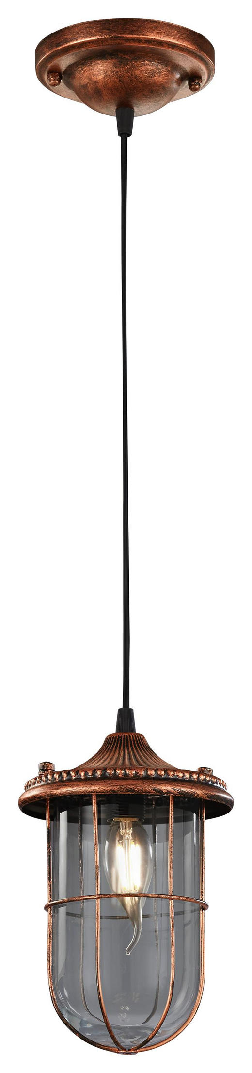 HÄNGELEUCHTE - Kupferfarben, Basics, Glas/Metall (14,5/150cm)