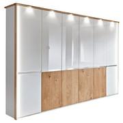 DREHTÜRENSCHRANK in furniert Balkeneiche Eichefarben, Weiß - Chromfarben/Eichefarben, KONVENTIONELL, Glas/Holz (300/236/58cm) - Venda
