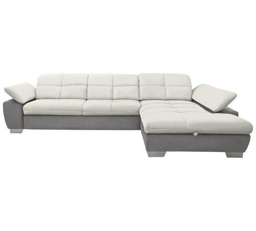 WOHNLANDSCHAFT in Textil Grau, Weiß - Chromfarben/Weiß, Design, Textil/Metall (297/204cm) - Xora