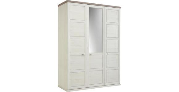 DREHTÜRENSCHRANK in Grau, Weiß - Weiß/Grau, LIFESTYLE, Glas/Holzwerkstoff (154/209/60cm) - Hom`in