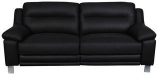 2,5-Sitzer inkl.Funktion Kombination Echtleder/Lederlook Schwarz, Chromfarben  - Chromfarben/Schwarz, MODERN, Leder/Holz (215/89/92cm) - Cantus