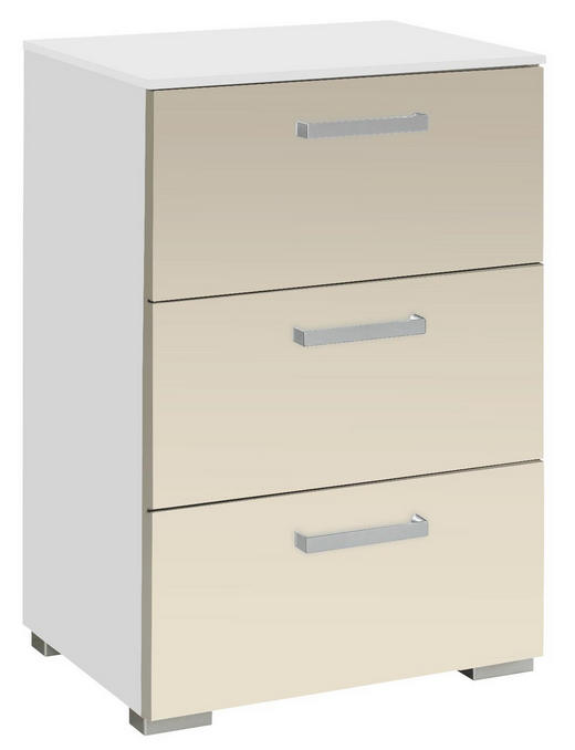 KOMMODE Sandfarben, Weiß - Sandfarben/Alufarben, Design, Kunststoff/Metall (55/81/42cm) - Carryhome