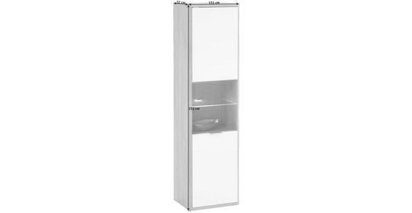 HÄNGEVITRINE in Eichefarben, Weiß - Edelstahlfarben/Eichefarben, Design, Glas/Holzwerkstoff (41/151/32cm) - Hom`in