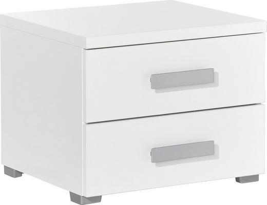 NACHTKÄSTCHEN melaminharzbeschichtet Weiß - Silberfarben/Alufarben, Design, Kunststoff/Metall (50/40,4/44,3cm) - Xora