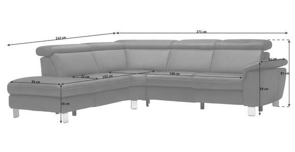 WOHNLANDSCHAFT in Leder Anthrazit  - Anthrazit/Alufarben, Design, Leder/Metall (242/271cm) - Cantus