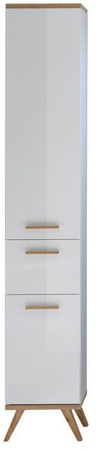 HOCHSCHRANK Weiß - Eichefarben/Weiß, LIFESTYLE, Glas/Holzwerkstoff (35,5/205/33,0cm) - Xora