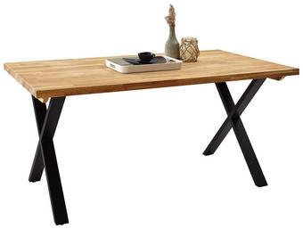 ESSTISCH in Holz 160 90 76 cm - Eichefarben/Schwarz, Natur, Holz/Metall (160 90 76cm) - Carryhome