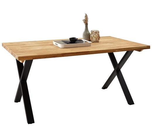 JÍDELNÍ STŮL, masivní, tvrdé dřevo, dub, černá, barvy dubu - černá/barvy dubu, Natur, kov/dřevo (160/90/76cm) - Carryhome