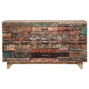 SIDEBOARD Mangoholz massiv gewachst - Multicolor/Schwarz, Design, Holz (160/90/42cm) - Kare-Design