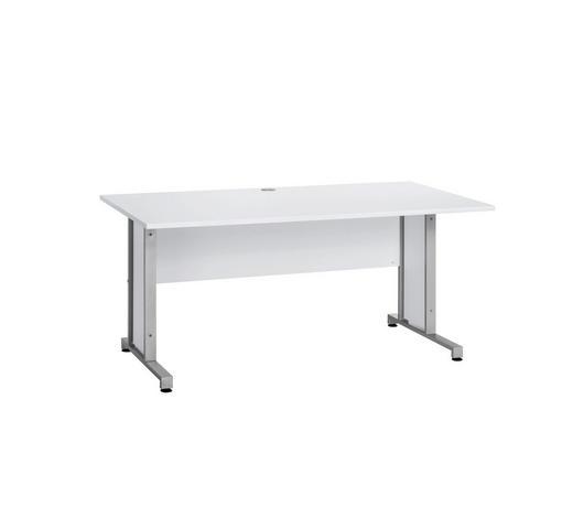 SCHREIBTISCH - Alufarben/Weiß, KONVENTIONELL, Holzwerkstoff/Metall (160/75/80cm)