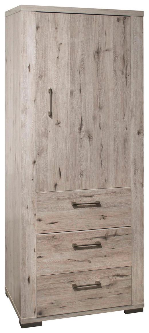 SCHRANK Eichefarben - Edelstahlfarben/Eichefarben, Design, Holzwerkstoff/Metall (76/199/45cm) - Carryhome