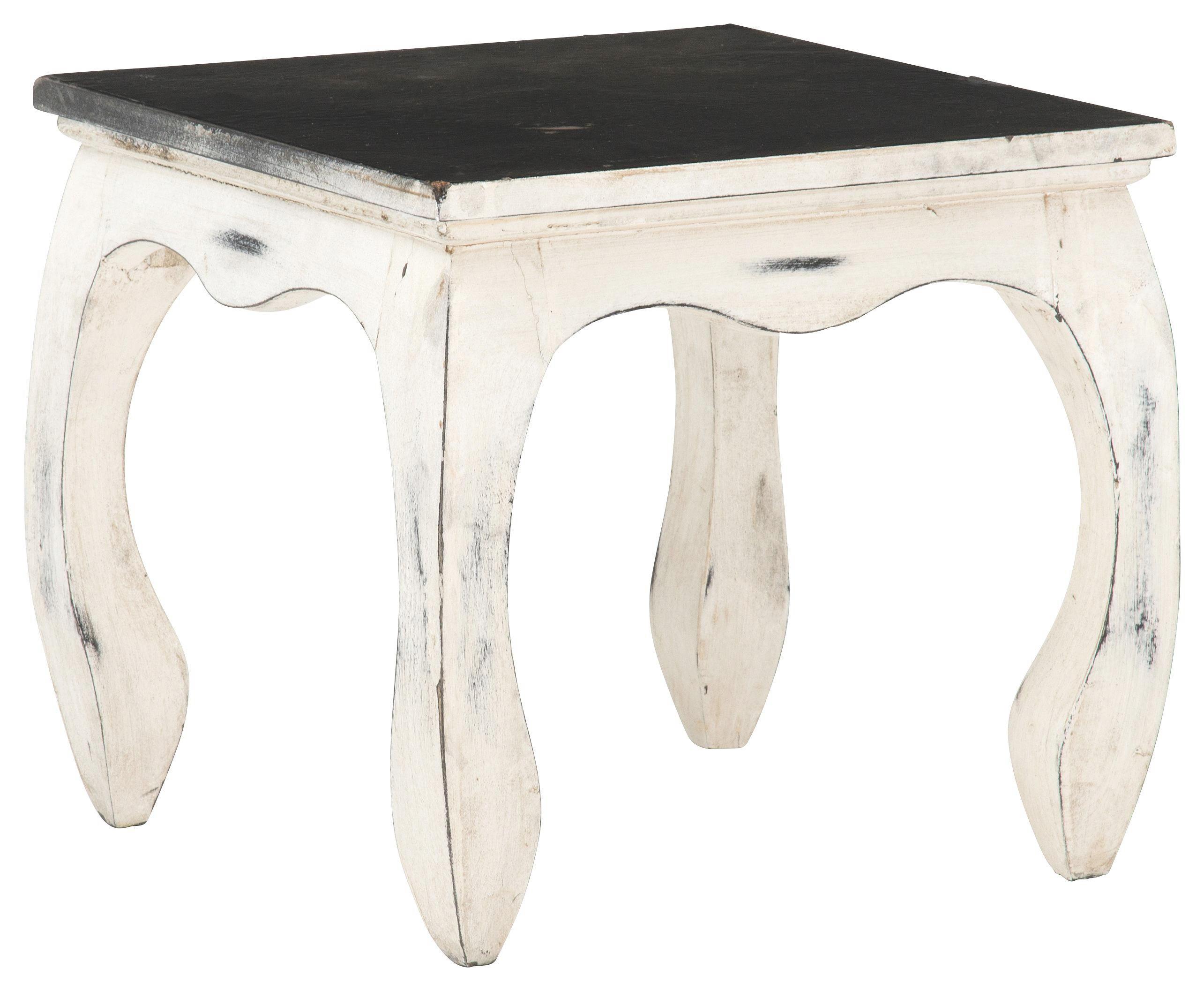 BEISTELLTISCH Mangoholz massiv quadratisch Schwarz, Weiß - Schwarz/Weiß, Design, Holz (35/32/35cm)