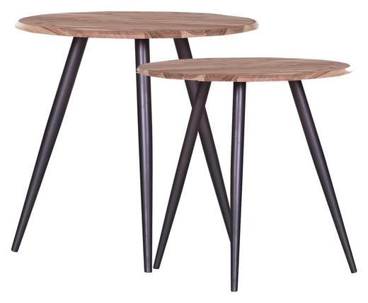 BEISTELLTISCHSET Akazie massiv rund Akaziefarben, Schwarz - Schwarz/Akaziefarben, Design, Holz/Metall (50/40/50/45cm) - Carryhome