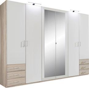 GARDEROB - vit/alufärgad, Design, glas/träbaserade material (270/208/58cm) - Carryhome