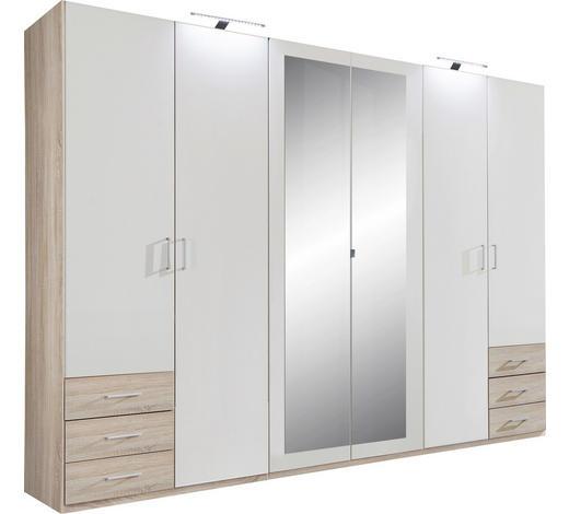 SKŘÍŇ, bílá, barvy dubu - bílá/barvy dubu, Design, kompozitní dřevo/umělá hmota (270cm) - Carryhome