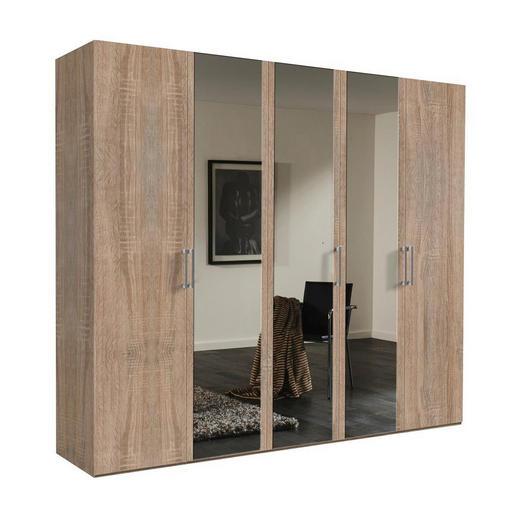 DREHTÜRENSCHRANK 5  -türig Sonoma Eiche - Alufarben/Sonoma Eiche, KONVENTIONELL, Glas/Holzwerkstoff (250/216/58cm) - Hom`in