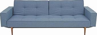 ROZKLÁDACÍ POHOVKA, modrá, textilie, - tmavě hnědá/modrá, Design, dřevo/textilie (242/79/115cm) - Innovation