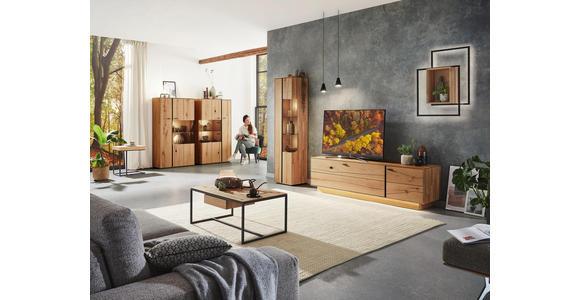 LOWBOARD 201,9/57,5/49,7 cm  - Eichefarben/Schwarz, MODERN, Glas/Holz (201,9/57,5/49,7cm) - Valnatura