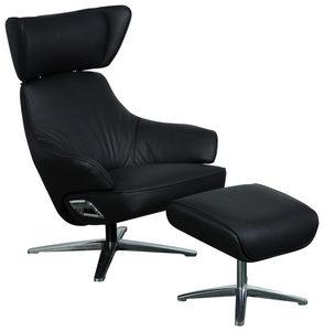 RELAXFÅTÖLJ SET - kromfärg/svart, Design, metall/läder (76/97-107/88-117cm) - Cantus