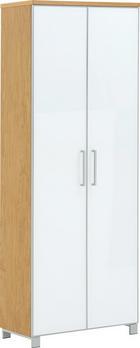 GARDEROBENSCHRANK furniert lackiert Eichefarben, Weiß - Chromfarben/Eichefarben, Design, Glas/Holz (71/193/37cm)