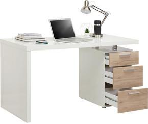 SKRIVBORD - vit/kromfärg, Design, träbaserade material/plast (140/75/65cm) - Carryhome