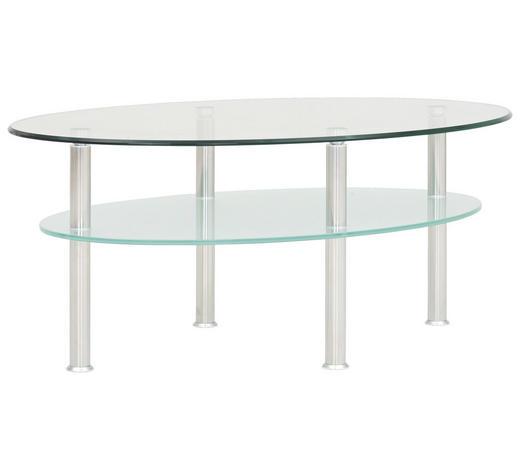 COUCHTISCH in Metall, Glas 105/70/45 cm   - Edelstahlfarben/Transparent, KONVENTIONELL, Glas/Metall (105/70/45cm)
