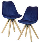 STUHL-SET in Textil Blau  - Blau/Eichefarben, MODERN, Holz/Textil (49/87/52cm) - Carryhome