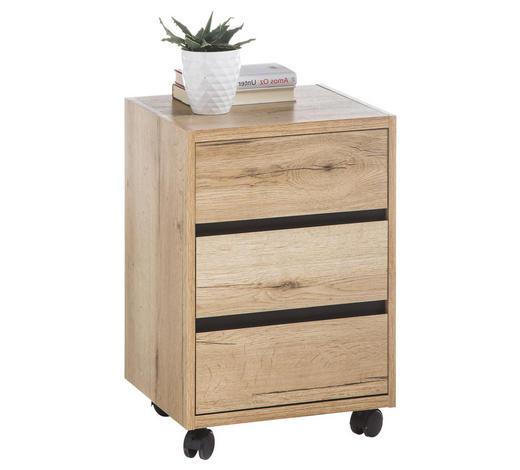 ROLLCONTAINER - Eichefarben, Design, Holzwerkstoff/Kunststoff (40/60/38cm) - Xora