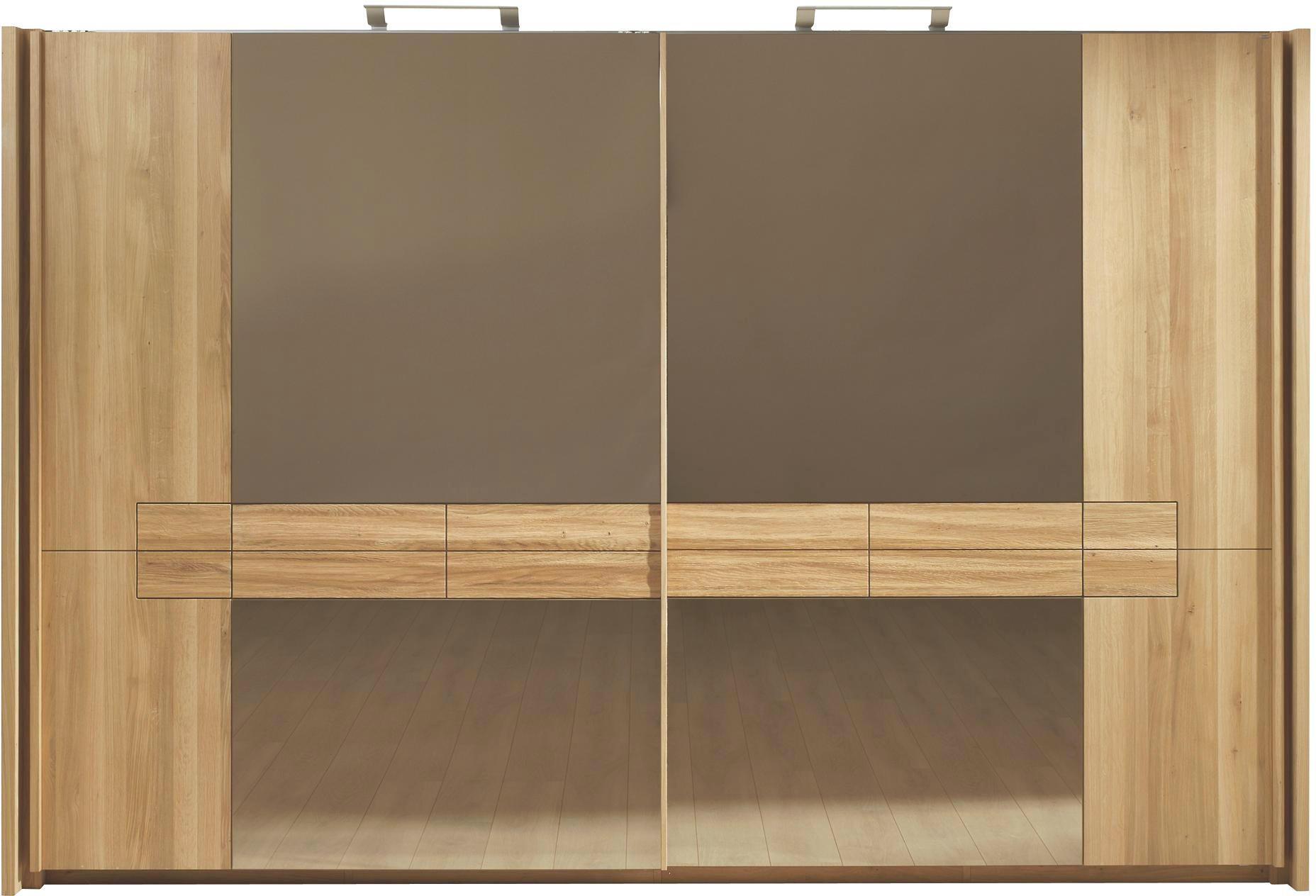 SCHWEBETÜRENSCHRANK 2  -türig Wildeiche mehrschichtige Massivholzplatte (Tischlerplatte) Eichefarben - Eichefarben, Design, Glas/Holz (282/226/71cm) - VOGLAUER