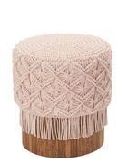 HOCKER Eukalyptusholz Naturfarben, Rosa - Rosa/Naturfarben, Trend, Holz/Textil (40/47cm)