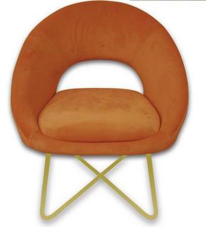 STOL - orange/guldfärgad, Lifestyle, metall/träbaserade material (63cm) - Ambia Home