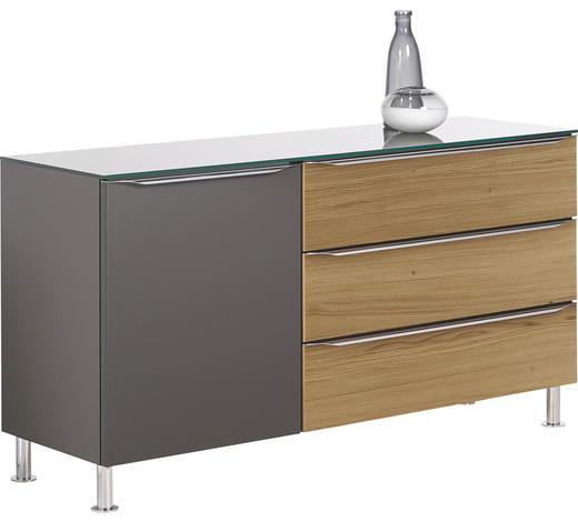 KOMMODE Eiche furniert Hochglanz, lackiert Grau, Eichefarben  - Eichefarben/Alufarben, Design, Glas/Holz (130/68,5/41,6cm) - Hülsta
