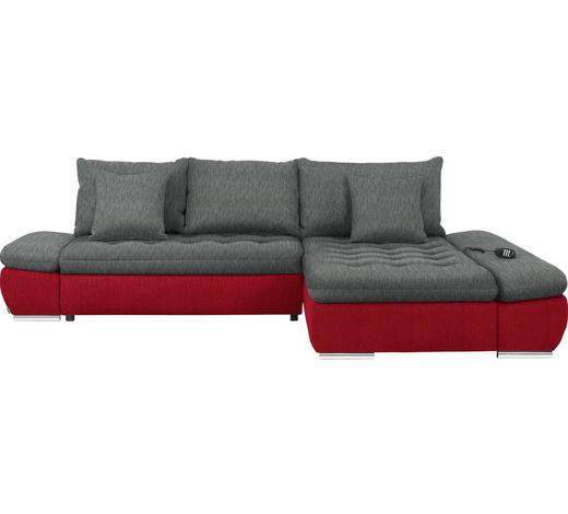WOHNLANDSCHAFT in Textil Grau, Rot  - Chromfarben/Rot, Design, Textil/Metall (309/200cm) - Hom`in