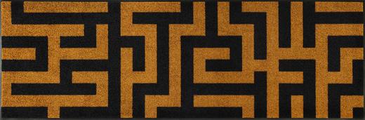 FUßMATTE 60/180 cm Graphik Dunkelgelb, Schwarz - Dunkelgelb/Schwarz, Basics, Kunststoff/Textil (60/180cm) - Esposa