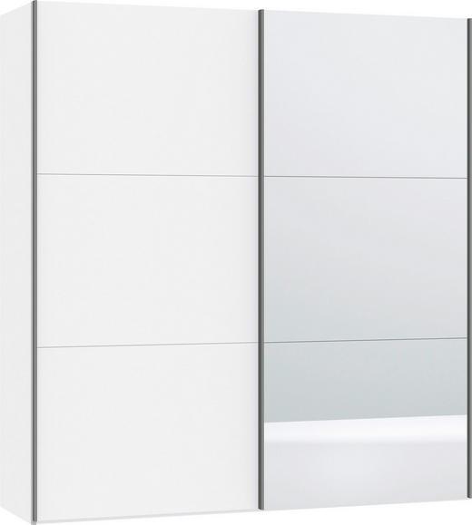 SCHWEBETÜRENSCHRANK 2-türig Weiß - Silberfarben/Weiß, Design, Glas/Metall (202,5/220/46cm) - Jutzler
