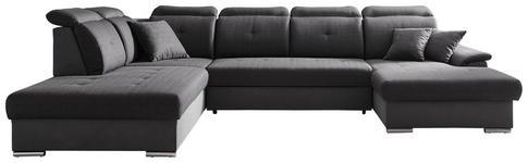 WOHNLANDSCHAFT Dunkelgrau, Grau Struktur - Dunkelgrau/Silberfarben, Design, Textil/Metall (263/365/187cm) - Cantus