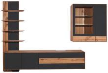 WOHNWAND in Anthrazit, Eichefarben  - Eichefarben/Anthrazit, Design, Glas/Holz (297/206/48cm) - Valnatura