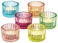 TEELICHTHALTER - Blau/Pink, Basics, Glas (5,8/4cm) - BOXXX