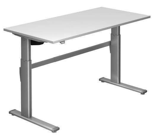 SCHREIBTISCH - Silberfarben/Weiß, Design, Holzwerkstoff/Metall (160/72-119/80cm)