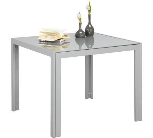 ZAHRADNÍ STŮL, šedá, barvy stříbra - šedá/barvy stříbra, Basics, kov/sklo (90/90/72cm) - Xora